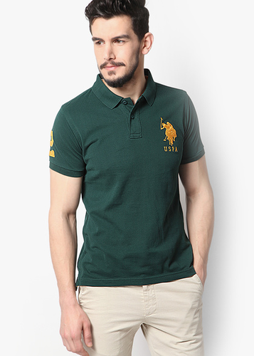 Green Solid Slim Fit Polo T Shirt
