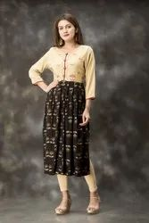 Casual Wear Beige and Black Color Hand Embroidered Long Kurtis