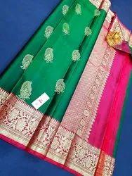 Madam Collection Zari work Wedding Pure Silk Sarees, 6.3 m (with blouse piece)