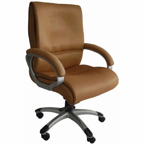 Avecbois Leatherette Brown Leather Director Chair, 5