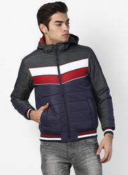 Blue Grey Striped Hooded Jacket