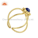 Lapis Lazuli Gemstone Yellow Gold Plated Silver Ring