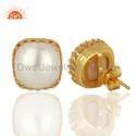 Designer Natural Pearl Gemstone Stud Earrings Jewelry