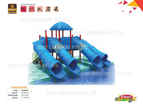 Outdoor Playground 4 Arms Tube Slide