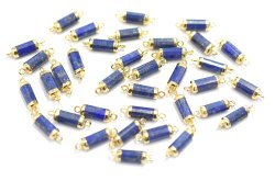Lapis lazuli Gold Electroplated Tube Connector