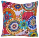 Floral Printed Cotton Kantha Cushion Cover