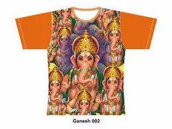 Cotton White Ganpati Bappa Digital Print T Shirts, Size: Small