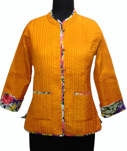 d439d627b7d Lucky Handicraft Full Sleeve Indian Reversible Silk Quilted Ladies Jacket