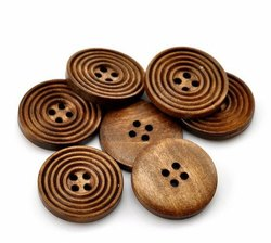 Brown Round Designer Wooden Button