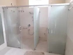 Quadrant Frosted Sliding Shower Glass Partition