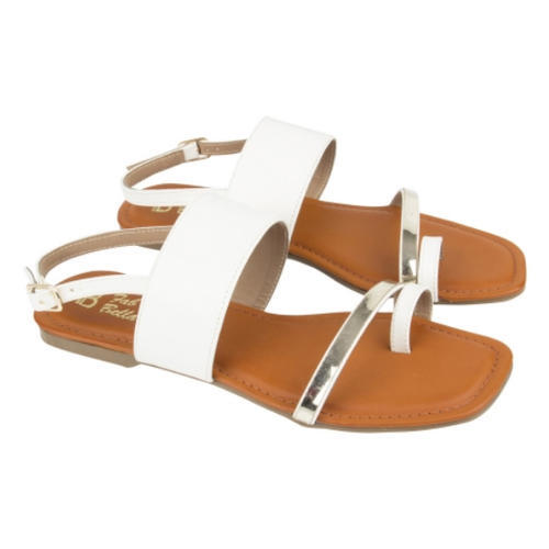 7b1c0f4ffbe9 White And Gold Flat Sandal at Rs 1350  pair