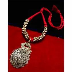 Oxidized Ghunghru Red Thread Peacock Pendent Necklace
