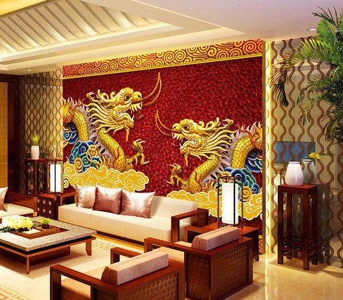 Paper With Plastic Coated Printed 3D Chinese Dragon Wallpaper