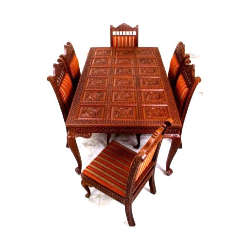 Polished Hand Carved Teak Wooden Dining Table Set Rs