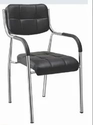 Leather Non Rotatable Silver Arrow, Visitor Chair For Office
