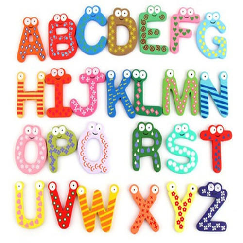 Red And Blue Magnetic Letters Figures