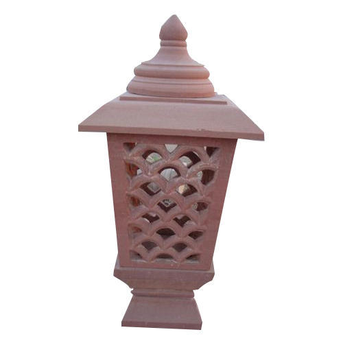 Outdoor Post Lights India: Red Sandstone Lamp Post At Rs 4500 /piece
