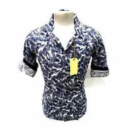 Collar Neck Casual Wear Men Trendy Printed Cotton Shirt