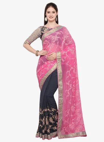 70d5ec6704 Triveni Pink Embroidered Saree, Rs 1600 /piece, Rehman Designers ...