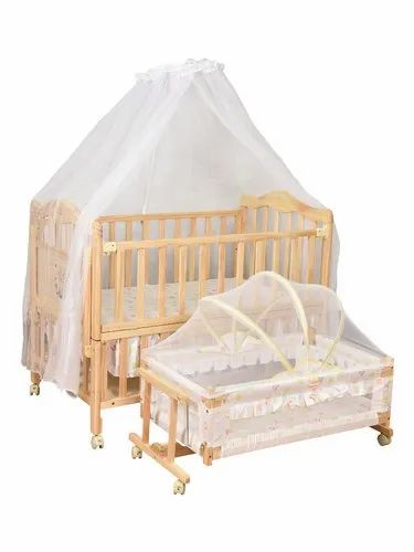Natural (Light Cream) Kiwi Wooden Cots/Cribs With Cradle