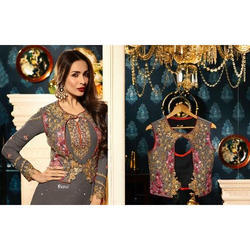 Georgette Full Sleeve Designer Suit with Koti, Size: M-XL