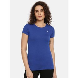 Feather Soft Casual Wear Ladies Blue Plain T-Shirts