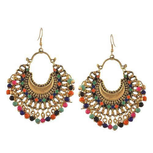 A1 Fashion Silver Plated Multi Colored Earring Shape Round
