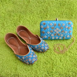 Sky Blue Designer Jutti with Matching Clutch