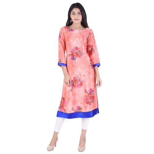 Lavanya Satin Floral Printed Designer Kurti