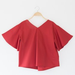 Red Cotton Girls Short Top