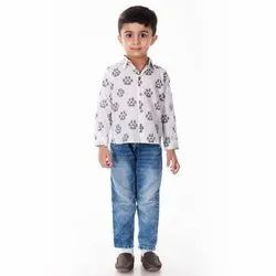 Casual Wear Kids Cotton Full Sleeves Printed Shirt, Size: 6 Months - 12 Years