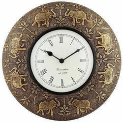 Antique Wooden & Brass Wall Clock