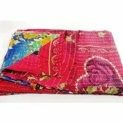 Reversible Cotton Kantha Quilt Indian Vintage Handmade Blanket Throw