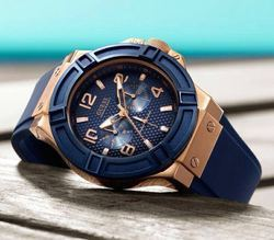 Blue Stainless Steel Guess Watch For Men
