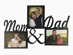 Wooden Black Mom And Dad Photo Frame, For Decoration