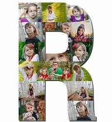 Wooden Alphabet Photo Collage