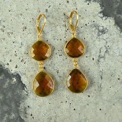 Citrine Hydro Gemstone Gold Plated Lever Back Earring