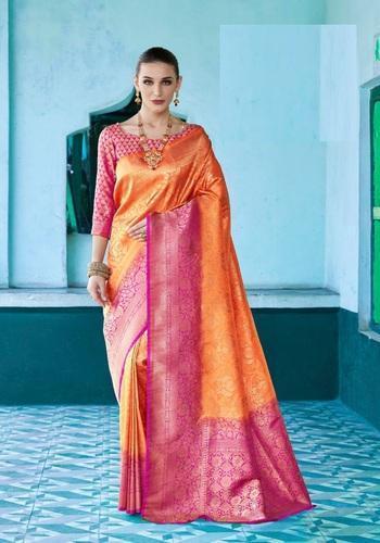9abca87d50 Silk Indian Traditional Zari Work Saree with Blouse Piece, Saree Length:  6.3 m