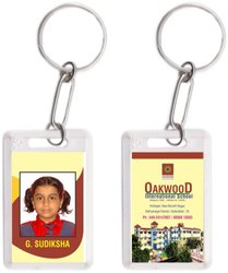 Two Side Vertical Sticker Plastic Keychain