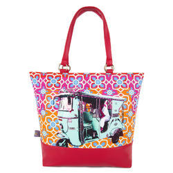 Turquoise Green Taxi Designer Tote Bag