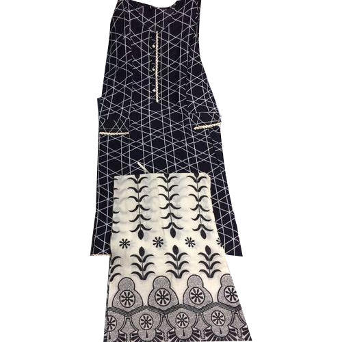 Cotton Round Neck Printed Palazzo Suit, Size: S to Xl