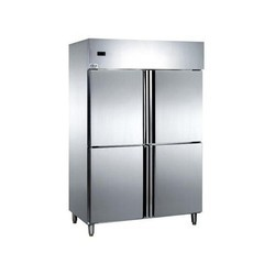 Silver Stainless Steel Four Door Vertical Refrigerator, Electric