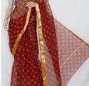 Maroon Colored Hand Block Printed Saree