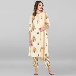Cream Pure Cotton Kurta With Pant And Dupatta
