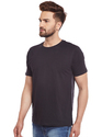 100% Cotton Men Short Sleeve Solid Black Round Neck T-Shirt