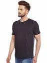 Men Black Plain T-Shirt