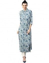 Women Blue Floral A-Line Cotton Slub Kurta