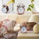Metal Analogue Cuitan Vintage Table Twin Bell  Alarm Clock with Nightlight,-golden clock
