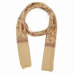 Party Wear Brown Grey Hand Embroidered Cashmere Wool Silk Scarf