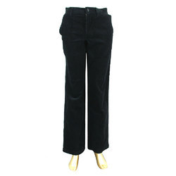 Men's Cotton Black Flat Trouser